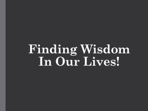 Finding Wisdom In Our Lives