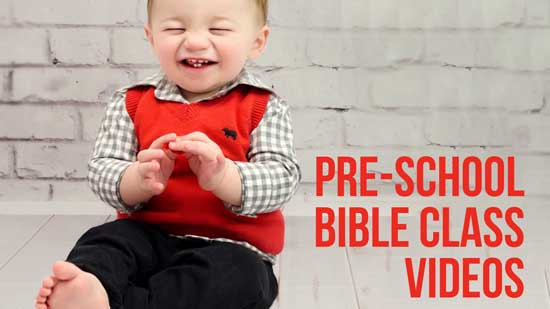 Toddler excited about Bible Class videos