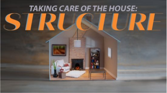 cross section of a house and words Taking care of the house: structure