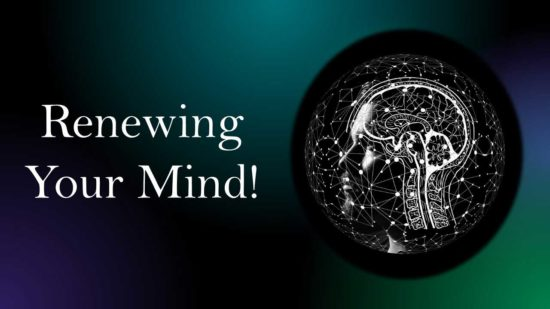 Image of human skull with exposed hi tech brain and words Renewing Your Mind